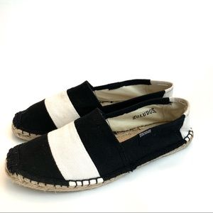 Soludos Black and White Striped Espadrille Flat